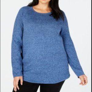 Karen Scott 3X Curved Hem Cotton Blue Sweater NWT